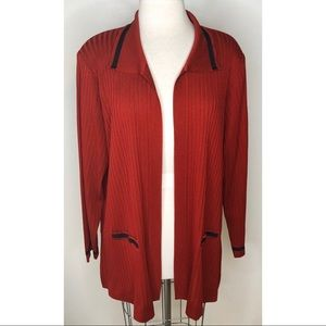 Exclusively Misook red open front cardigan